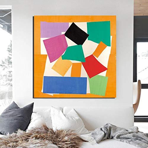 KWzEQ Weinleseplakatdruckmacherei Leinwand berühmter Künstler abstrakte Wandkunstdekorationsmalerei,Rahmenlose Malerei,70x70cm