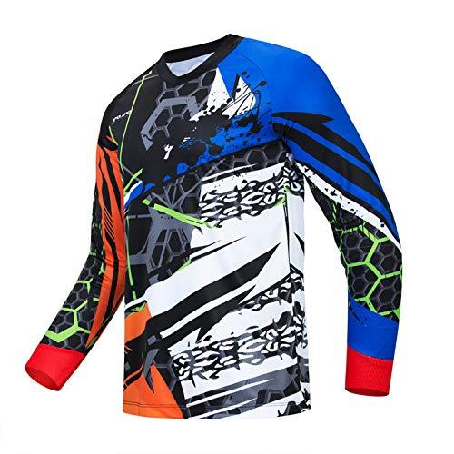 Weimostar Radtrikot Herren Mountainbike Motocross Trikot Langarm MTB T-Shirt Downhill Tops Sport Rennbluse blau L.