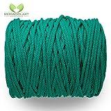 MeriWoolArt - Cordón de macramé de 10 mm x 60 m en bobina, hilo de algodón suave reciclado para soporte de plantas colgantes, fabricación de joyas, bolsas de ganchillo y decoración del hogar