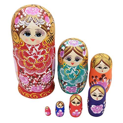 EXCEART 7Pcs Handgemachte Stapelspielzeug Russische Nistpuppe Holz Matroschka Puppen für Kinder