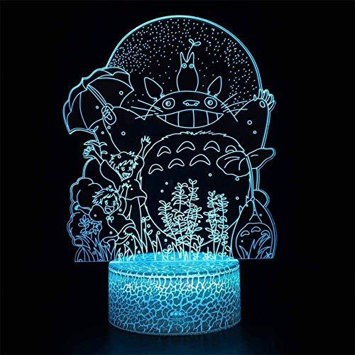 Miyazaki 3D LED Illusion Lampe Nachtlicht Hayao Nachbarn Totoro Optische Nachttisch-Nachttisch-Nachtlichter, Beleuchtung Kinder Lampe 16 Farbwechsel Touch-Taste USB-Kabel Dekoration Schreibtisch