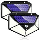Luz Solar Exterior IOTSES 2 Unidades 100LED 2200mAh 3 Modos con Sensor de movimiento 270ºde Cuatro Lados Foco IP65 Impermeable para Jardín, Garaje, Calle, Patio, Terraza etc. (2 Unidad)