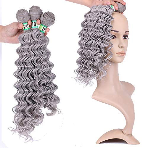 Extension des cheveux Fashian Hair Extension Bundles Weave Bundles cheveux naturels Deep Wave (Couleur : Silver grey, Size : 20\