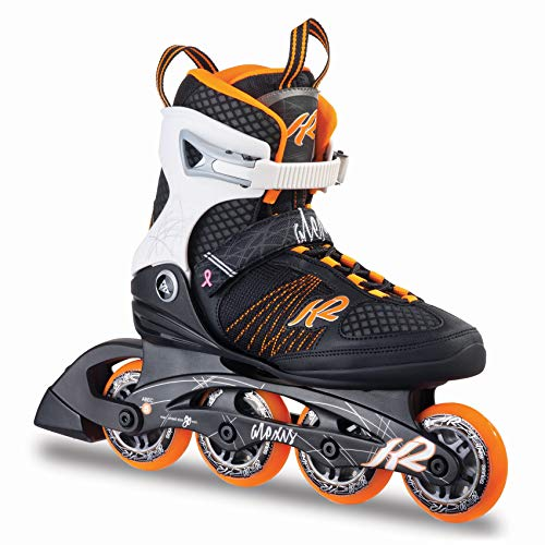 K2 Damen Inline Skates Alexis 80 - Schwarz-Weiß-Orange - EU: 42 (US: 10.5 - UK: 8) - 30A0104.1.1.105