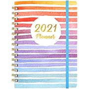 """2021 Planner - Weekly & Monthly Planner with Tabs, 6.5"""" x 8.5"""", Hardcover with Thick Paper + Back Pocket + Banded, Twin-Wire Binding - Colorful and Fun"""