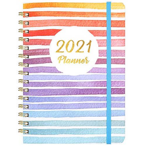 2021 Planner - Weekly & Monthly Planner with Tabs, 6.5' x 8.5', Hardcover with Thick Paper + Back Pocket + Banded, Twin-Wire Binding - Colorful and Fun