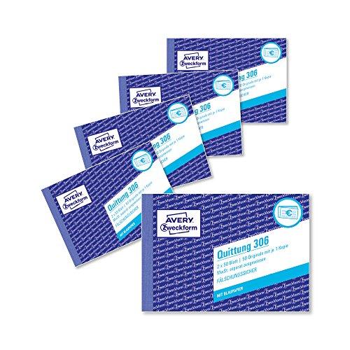 AVERY Zweckform 306-5 Quittungsblock (A6 quer, 2x50 Blatt, mit Durchschlag, fälschungssicher, separat ausgewiesene MwSt., für Deutschland und Österreich) 5er Pack weiß