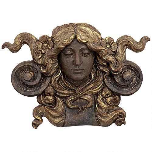 Design Toscano Art Nouveau Mascaron - Escultura arquitectónica de bolsillo para pared, acabado de piedra gótica, poliresina