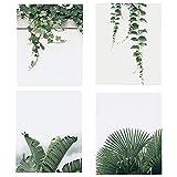 KAIRNE 4er Set Poster Set Wohnzimmer | Grüne Blätter