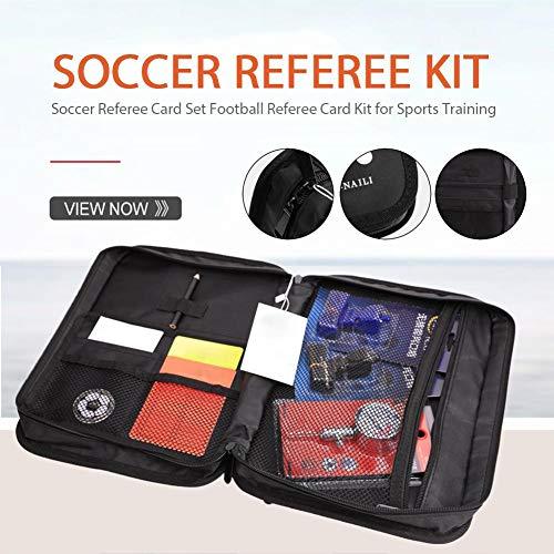 atteryhui Kit de árbitro de fútbol Fútbol Entrenador de fútbol Tarjetas de Referencia Moneda de Bola de Silbato Monedas en una Bolsa de Transporte Multibolsillos para Deportes de Juego