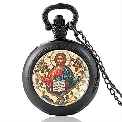 huangshuhua Reloj de Bolsillo de Cuarzo con diseño Vintage de Noah's Ark, Collar con Colgante de Encanto para Hombres y Mujeres, Reloj de Horas, Regalos