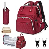 7 in 1 Diaper Bag Backpack with Changing Station Portable Bassinet, Multifunction Large Waterproof Mummy Bag,Travel Foldable Baby Bag with USB Charging Port, Mosquito Net Insulated Pockets (Wine)