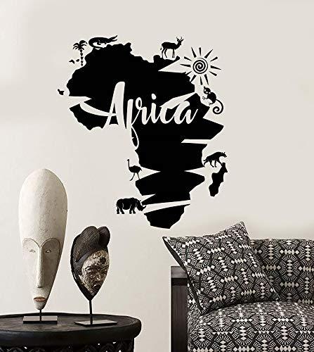 Vinyl Wandapplikation abstrakte Afrika Kontinent Karte Afrika Tier Aufkleber nach Hause Wohnzimmer Dekoration 57 * 65cm