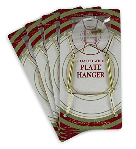 Banberry Designs Brass Vinyl Coated Plate Hanger 5 to 7 Inch Plates - Set of 4 - Includes Hook and Nail for Hanging