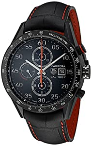 Tag Heuer Carrera 1887 Chronograph Automatic Black Dial Black Leather Mems Watch CAR2A80FC6237 image