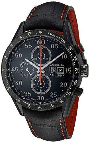 TAG Heuer Carrera - Reloj (Reloj de Pulsera, Masculino, Titanio, Negro, Cuero, Negro)