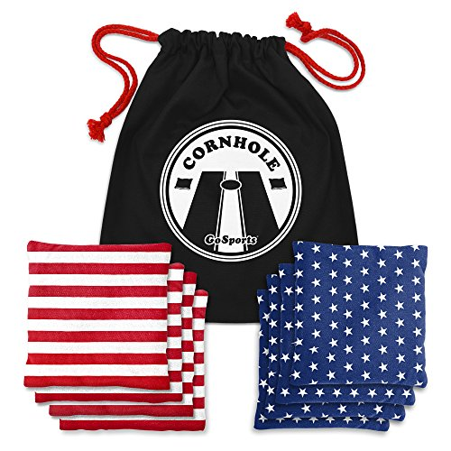 GoSports CH-BAGS-8-AMERICA Official Regulation Cornhole Bean Bags Set (8 All Weather Bags) - Red/Blue & American