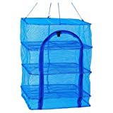 BESPORTBLE Drying Rack 4 Layers Folding Hanging Mesh Dryer for Shrimp Fish Fruit Vegetables Herb, 66X35X35cm with Buckle