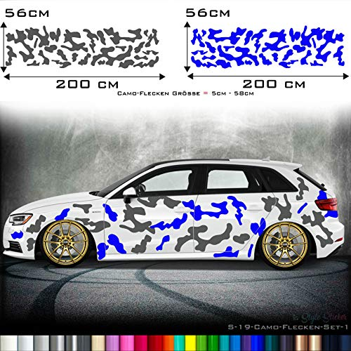 Auto Camouflage Aufkleber Carwarp Set Carsign Set 2 Farbig WUNSCHFARBE Matt/Glanz CAMO Style S19