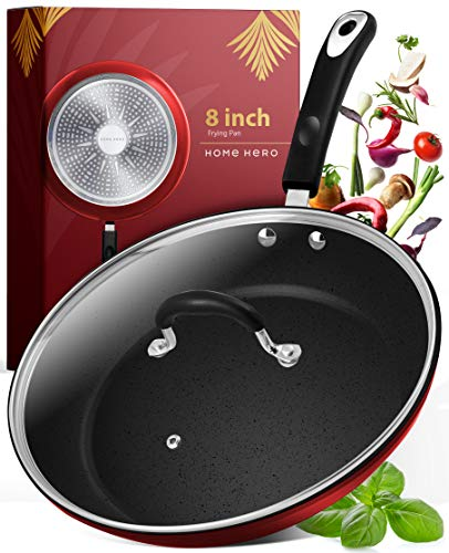 Frying Pan with Lid - 8 Inch Frying Pans Nonstick Skillet Pan Nonstick Frying Pan Skillets Nonstick with Lids Non Stick Pan Cooking Pan Fry Pan Nonstick Pan with Lid Skillet with Lid Pan Red
