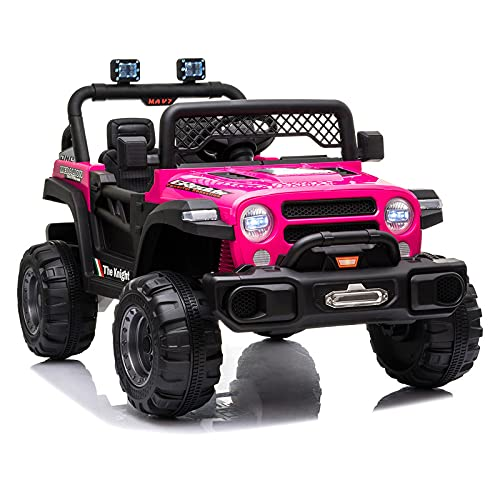 JIMIPARK Ride On Truck, Ride on Car with Remote Control 12V , Off-Road UTV, Motorized Vehicles with Music, Story, Solid Seat Belt, Wearable Wheels, 3 Speed, Spring Suspension, LED Light for Kids 3-6 -  JIMUPARK, JIMU29492465