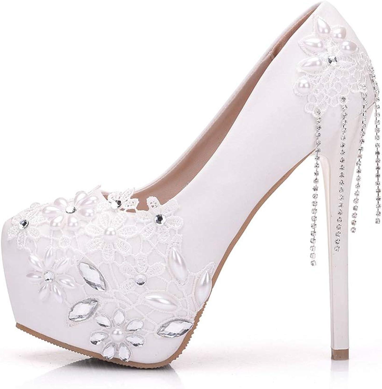 YAN Frauen Stiletto Schuhe Fashion PU Weiß Lace High Heels Rhinestone Pearl Tassels Hochzeitsschuhe Party & Abend,Weiß,40