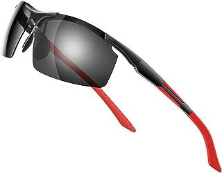 Glazata 偏光スポーツサングラス 偏光グラス 昼夜兼用・超軽量メタル UV400 紫外線カット ドライブ/野球/自転車/夜釣り/ランニング/ゴルフ/運転 男女兼用