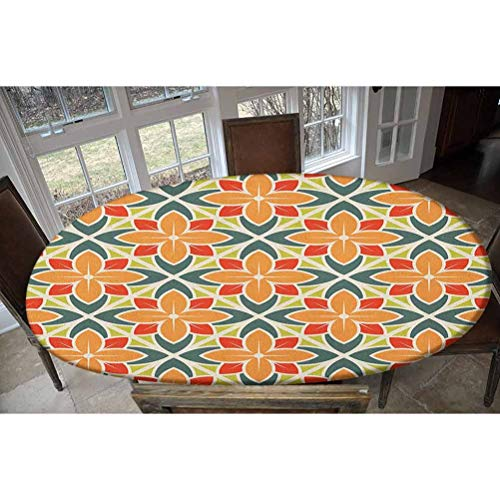 LCGGDB Elastic Polyester Fitted Table Cover,Ornamental Squared Background with Symmetrical Petal Design Abstract Botany Image Oblong/Oval Dinner Fitted Table Cloth,Fits Tables up to 48' W x 68' L