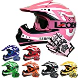 Leopard LEO-X17 Casques Motocross & Gants d'enfants & Lunettes pour Enfants - Rose S (49-50cm) - Casque de Moto de...