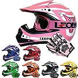 Leopard LEO-X17 Kinder Motocross MX Helm { Motorradhelm + Handschuhe + Brille} Rosa L (53-54cm) ECE Genehmigt Crosshelm Kinderquad Off Road Enduro Sport