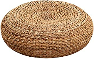 Handcrafted Eco-Friendly Woven Knitted Straw Seat Natural Straw futon/Pouf Ottoman (Banana Bark 60 cm)