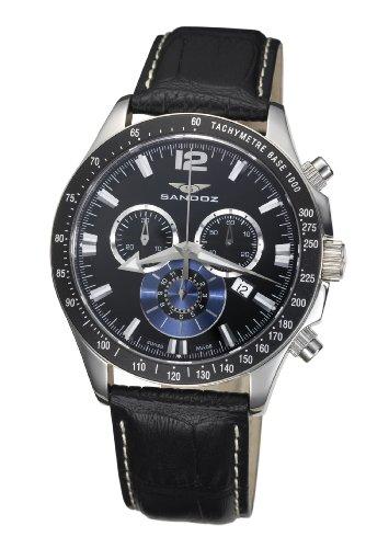 Sandoz 72579-05 - Reloj de Caballero de Cuarzo, Correa de Piel Color Negro