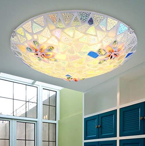 Yjmgrowing LED Shell plafondlamp voor kinderkamer plafondlamp mozaïek in mediterrane stijl voor hal, LED-chip