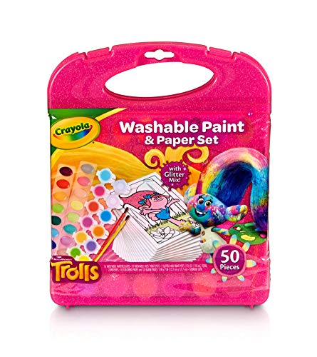 Crayola DreamWorks Trolls Washable Paint & Paper Set, 50 Pieces Art Gift for Kids 4 & Up, Washable Watercolors, Washable Kids' Paint, Brushes & Trolls Line Art Sheets in Convenient Travel Case