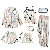 Pijamas Mujer Ropa de Dormir Ropa de Casa Elegante 7 Piezas Camisónpara Mujer Suave y Comodo Dormir Casual Conjunto de Pijamas para Todas Las Estacioes Camisones