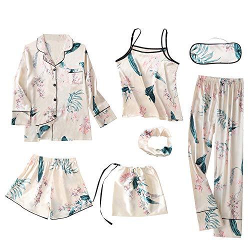 Pijama Mujer Ropa De Dormir Elegante Sexy 7Pcs Ropa de Noche Contiene Conjunto Camisa, Camisola, Pantalón Largo, Pantalón Corto, para Familias para Todas Las Estaciones Camisones