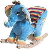 Bieco Plüsch Schaukeltier Elefant | Kinder Schaukelstuhl mit Sicherheitsgurt | Baby Schaukel | Schaukel Kleinkind | Schaukeltier Baby Zimmer | Baby Schaukelwippe ab 9 Monate | Schaukelpferd Holz
