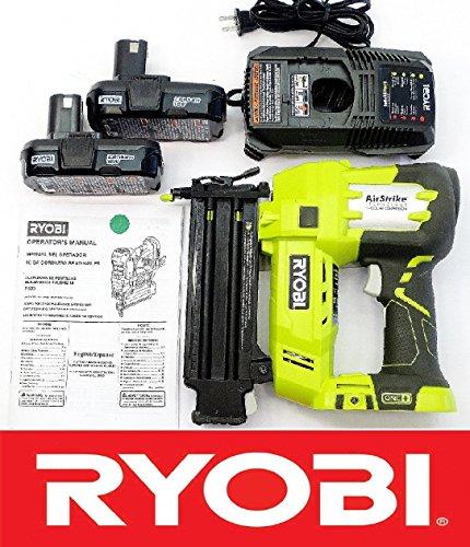 Ryobi 18 Volt Air Strike 5/8-2in Brad Nailer P320 + (2) Batteries P102 + Charger P118 (Renewed)