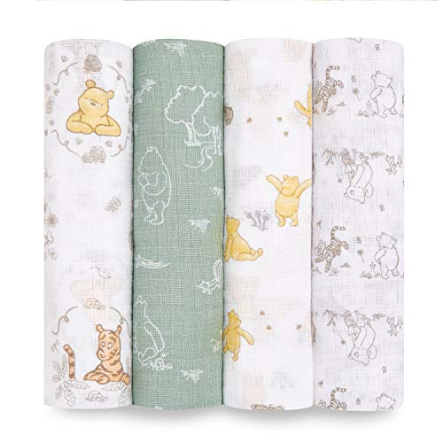 aden + anais Disney, Swaddle Blanket | Boutique Muslin Blankets for Girls & Boys | Baby Receiving Swaddles | Ideal Newborn & Infant Swaddling Set | Perfect Shower Gifts, 4 Pack, Winnie + Friends