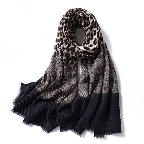 YUTRD ZCJUX Invierno cálido Mujer Leopardo Foulard Bandana Pashmina algodón Bufanda Moda Femenina Bufandas Estampadas (Color : C)