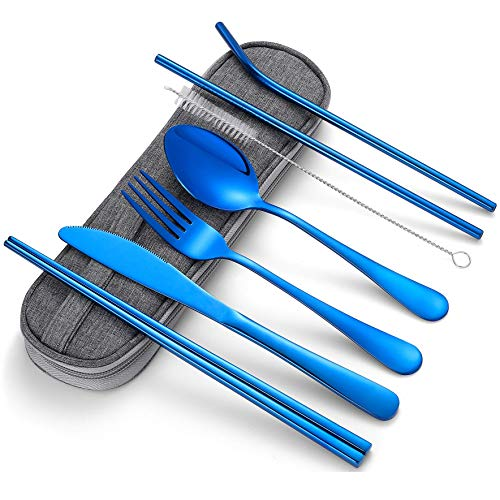 Portable Stainless Steel Flatware Set Travel Camping Cutlery Set Portable Utensil Travel Silverware Dinnerware Set with a Waterproof Case Blue