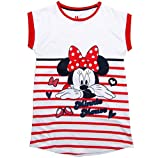 Minnie Mouse Nachthemd Nachtwäsche Nachtrobe Kurz Disney (Weiß-Rot, 110-116)