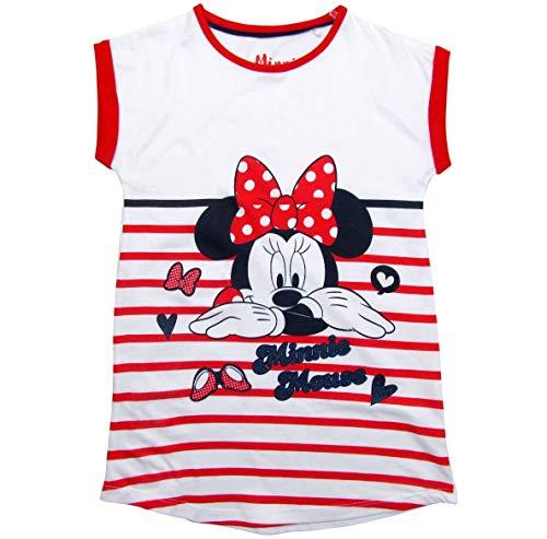 Minnie Mouse Nachthemd Nachtwäsche Nachtrobe Kurz Disney (Weiß-Rot, 128)