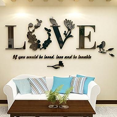 Rumas Stylish Removable 3D Leaf LOVE Wall Sticker Art Vinyl Decals Bedroom Decor (Black)