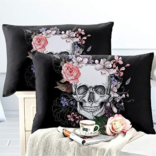 Junsey 2Pcs Black Sugar Skull Pillowcase Standard/Queen Size,Girls Rose Floral Pillow Case Halloween Decor Pillow Cover