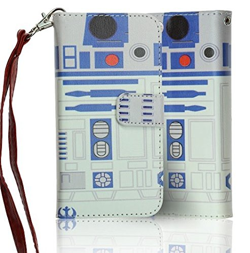 iPhone SE Case Wallet, DURARMOR Star Wars Astromech Droid R2D2 Robot Premium PU Leather Wallet Case with ID Credit Card Cash Slots Flip Stand Wrist Strap Carrying Case for iPhone SE (2016)/5s/5