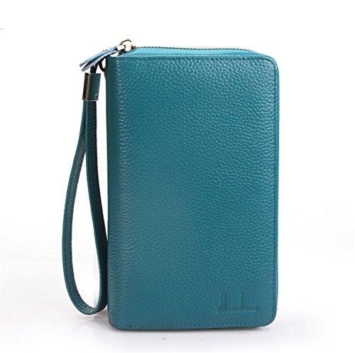 CHUANYON Männer Multi-Card Fällen Leder Dokumente Taschen Reißverschlüsse Große Kapazität Kreditkarten Packs Business Card Packs, Blue