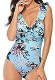 JFan Costumi Interi da Bagno per Donna Tummy Control Costume da Bagno Intero a Righe Senza Schienale Deep V