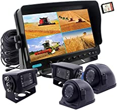 CAMSLEAD Vehicle Vision Safety Backup Camera System 7 inch Monitor Built-in DVR Recorder with Quad Split Screen Vehicle Side Camera Rear View Camera Monitor Kit for Truck Van Caravan Trailers