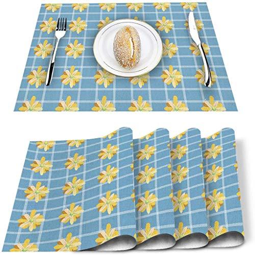 Lot de 4 Sets de Table, Dessiner à la Main Daisy Blue Plaid Tapis de Table en PVC résistant à la Chaleur Tapis de Table de Cuisine Lavable antidérapant pour Table à Manger Table de Banquet de vacanc